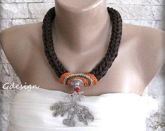 Knit Necklace, Crochet Necklace, Authentic- Dark Brown Statement Necklace, OOAK. Silver, Accessory