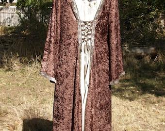 Brown Medieval Velvet Velour Dress XL/XXL