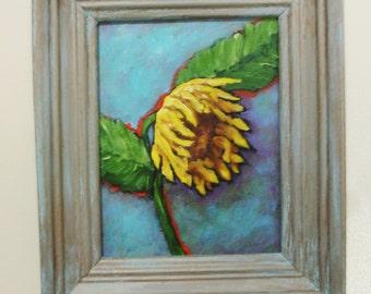 SUNFLOWER Painting - Wonderful sunflower bloom - Acrylic on canvas board - 10 x 12 -Upcycled frame