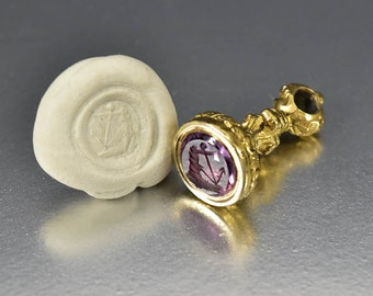 Antique Victorian Amethyst Wax Seal Stamp, Intaglio Seal Georgian Gold Watch Fob Anchor Pendant, Amethyst Petite Anchor Necklace Pendant,