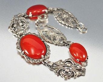Antique Carnelian Bracelet, Sterling Silver Marcasite Bracelet, Vintage 1920s Art Deco Bracelet, Antique Jewelry, Jewelry Gifts