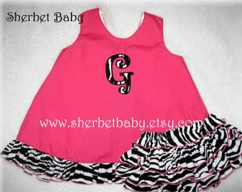 Handmade Hot Pink with Zebra Ruffled Pinafore & Original Sassy Pants Bloomer Set Girl Baby Toddler Monogram Option