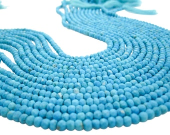 Blue Turquoise Beads, Faceted Rondelles, Turquoise Rondelles, SKU 3550
