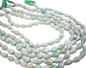 Green Opal Beads, Faceted Teardrops, Green Opal, SKU 4053A