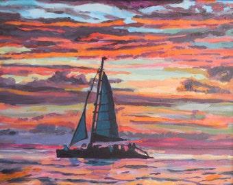Studio Sale. Aruba Painting, island Sunset Painting with Sailboat Boat Painting, Caribbean, Aruba Sunset, Original Painting by Gwen Meyerson