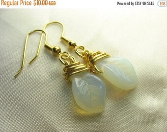 Opalite leaf earrings ... little leaves wrapped in gold wire ... glowing leaves in the trees