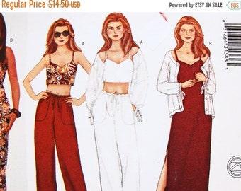 Sewing Pattern SALE Womens Bra Crop Top, Slip Dress, Drawstring Pants, Jacket Coverup Sewing Pattern Misses Size 12 14 16 Bust 34 36 38 UNCU