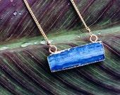 Blue Kyanite Bar Necklace, Kyanite Crystal Necklace