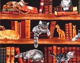 189233 black cat library fabric by Timeless Treasures USA