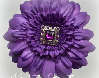 Deep Purple Gerbera Daisy Flower Clip with Square Button Rhinestone Center