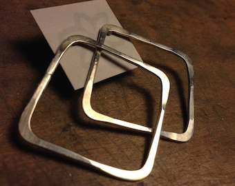 Pounded Sterling Silver Square Post Earrings
