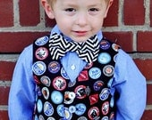 Train Birthday Party  - Boys Vest - Boys Bow Tie - Photo Prop for Kids - Boys First Birthday - 6 mos to 8 yrs
