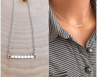 Sterling Silver Dotted Bar Necklace, Flat Pebble Bar Necklace, Horizontal Bar Necklace, Sterling Silver Ncklace, pebbel Bar, Charm necklace