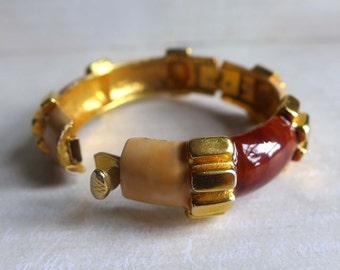 Vintage Original By Robert Brown Beige Gold Enamel Hinged Bangle Bracelet by Robert, Vintage 1960s Original by Robert Bracelet