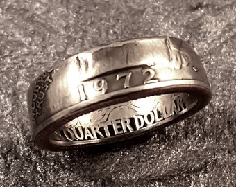 1972 Coin Ring YOUR SIZE 5 to 10.5 Year Quarter MR0705-Tyr1972