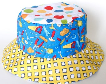 Bucket Sun Hat for Boys, Beach Wear, with Cars and Tools, Reversible Sun Protection Hat