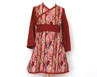KIMONO wrap dress, fall dress, autumn dress, girls dress, toddler dress, asian dress, japanese dress, burgundy dress, long sleeves dress