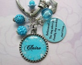 Personalized turquoise retirement keychain, retirement gifts, retirement keychain keepsake