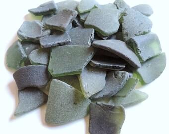 Moss Green GENUINE SEA GLASS Bulk of 30 pieces for crafts