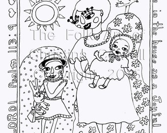 "Adult Coloring Page Joyful Mother Download 8.5"" X 11"" printable, Stitchery, Clip Art, Digital Stamp, Scrapbook, Art Journal"