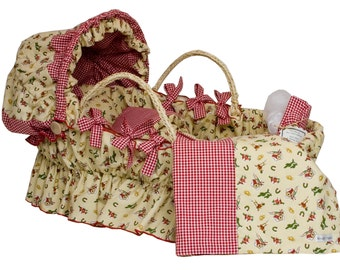 Bedding ONLY for Moses Basket with Hood - Cowboy with Red Gingham