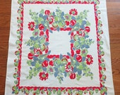 Vintage Tablecloth with Fruit & Flowers - Apples, Pears, Strawberries and Cherries in Red, Chartreuse and Blue