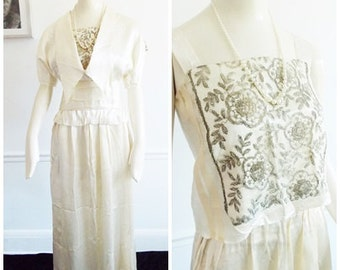 SPECIAL OFFER-Edwardian ivory white wedding dress  /1900s tea dress / four piece party evening gown