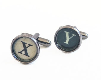 Initial Typewriter Key Cufflinks - Personalized For Him - Groomsmen Gift - Groom