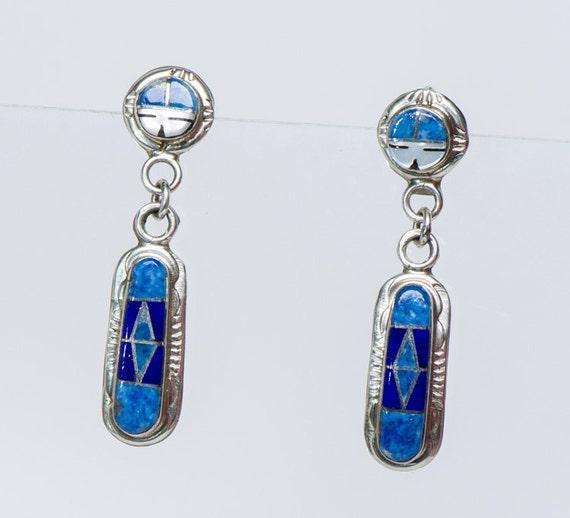 Zuni Earrings: R&P Edaakie Zuni Inlay Dangle Earrings By Littlethingsvintage