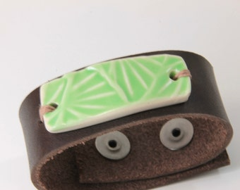 Brown Leather Cuff Braclet with Handmade Light Green Geometric Print Ceramic Charm