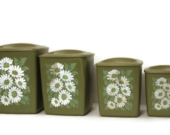 Vintage Daisy Canister Set, Avocado Green Canisters, Retro Kitchen Canisters, Set of Canisters, Flower Power, Groovy Kitchen