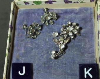Vintage Rhinestone Flower Brooch and Earring Set Silver tone