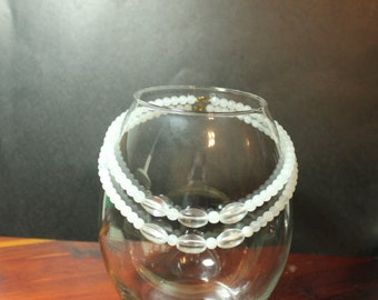 White and Clear Stacking Beaded Necklaces 16  and 17 inch