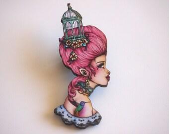 Marie Antoinette Pink - Bird Cage - Laser Cut Wood Brooch