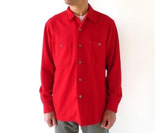 Pendleton Wool Shirt | 60s Shirt | Men's Red Shirt | Large L