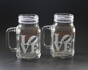 LOVE Mason Jar Mugs Love Sculpture Engraved Mason Jars