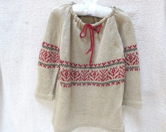 Knit Pure Linen Peasant Blouse - Round Neck - Jaquard /Fair Isle/Intarsia - Adult Sizes