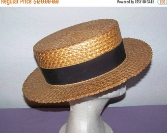End  Of Summer SALE Great Vintage YORKSHIRE  Men's Boater Straw  Hat