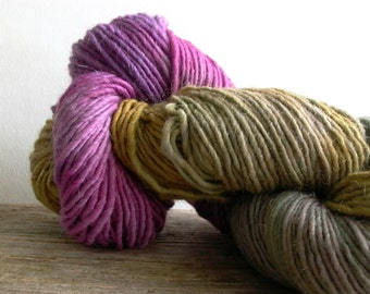 Cherry Tree Hill Yarn . playing possum . hand-painted mohair wool . Lamb's Pride Handpaints 190yd worsted aran yarn gold ochre plum violet