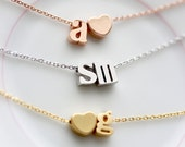 Initial Necklace Lowercase - Double Letter Gold Silver Rose Gold Initial Chain Custom Bridal Gift Personalized Bridesmaid Gift Wedding