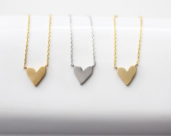 Hanging Heart Necklace - Silver or Gold Heart Necklace Bridal Bridesmaid Gift Wedding Heart Jewelry Love Valentine's Necklace Dainty