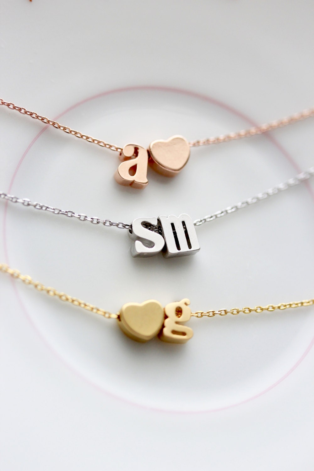 Initial necklace lowercase double letter gold silver rose for Lowercase letter necklace
