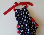 Ruffle Romper. Baby Ruffle Romper. Patriotic Outfit. Red White Blue Romper. Red White Blue Ruffle Romper.  Fourth of July Outfit.
