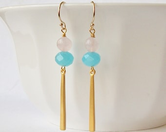 Pink and Blue Mod Earrings