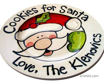 """Cookies For Santa 10"""" or 7"""" ceramic christmas plate personalized name dishwasher safe"""