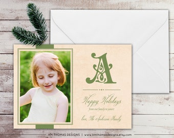 Monogram Holiday Photo Card - Photo Christmas Card - Large Initial - Green Holiday Card - Green Monogram - Traditional Holiday Card - WH173