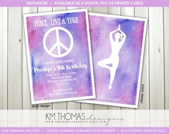 Peace Sign Birthday Invitation - Printable Girl Birthday Invitation - Peace Love Yoga - Yoga Party Invitation - Watercolor - BD195