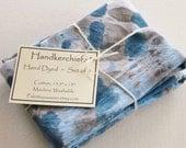 Hand Dyed Handkerchiefs - Mens Cotton Hankies - Set of 3 - Denim Light Blue Powder Sky Navy Gray Grey Tie Dye Handkerchief Pocket Square