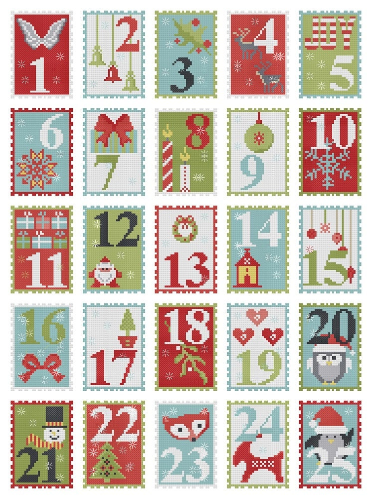 Advent Calendar Cross Stitch Pattern Embroidery