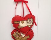 Red Heart Hangings, Cat Hearts Wall hanging, Fabric Hearts Wall Hanging, Wall Decorations